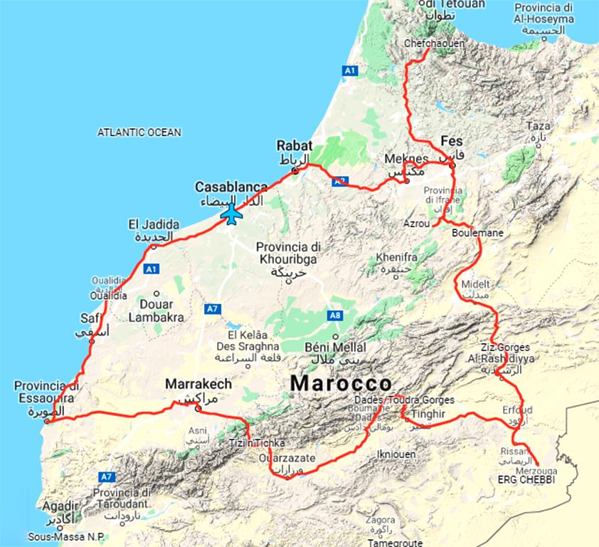 Mappa del Marocco