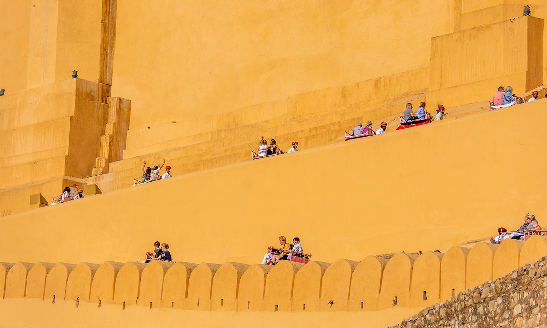 Jaipur, gli elefanti di Amber Fort